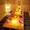 6~12名様向け。企業様の歓送迎会などでも便利。完全個室☆掘りごたつ完全個室でゆっくりとご宴会を♪宴会、歓迎会、お食事、忘年会、各種ご宴会にもってこいの個室です。