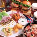 料理メニュー写真二人用【ビッグベンバーガーセット】美味しいドリンク1杯+バーガーセット登場デス♪