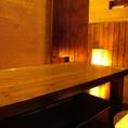 奥には仕切りがついて落ち着いた雰囲気の半個室風堀りごたつ席があります。