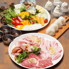 九州産肉3種盛豪華BBQビアガーデンコース≪飲み放題付き3850円≫雨天時も可※2日前までの予約