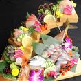 【海鮮】弁健は海鮮もおすすめ!弁慶盛りや3種餅、5種盛りなど人数や場面に合わせてお選びいただけます。そのほか、トロサバ刺しや泳ぎサバ姿造り、イカの姿造りなど豊富なラインナップです♪