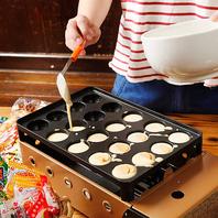 皆で楽しみながら作れちゃう【駄菓子焼き】も食べ放題☆