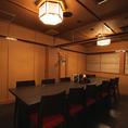 会社接待にもご利用頂ける落ち着いた個室席です。※店舗により部屋の配置・席数が異なる場合がございます
