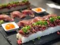 【肉寿司プレート】新登場!!パスタンで大人気の各コースにも含まれる肉寿司&新メニューのユッケ寿司を一つにまとめた肉寿司プレート!イチボ・タン・モモ・ユッケのそれぞれの肉寿司を味わってください◎