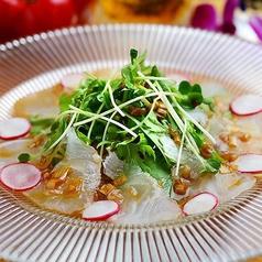 料理メニュー写真真鯛のカルパッチョ(ねぎ味噌ソース)