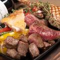 料理メニュー写真鉄板肉盛3種盛り合わせ100g