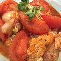料理メニュー写真トマトとキムチと玉子の炒めもの