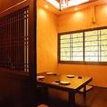 【2階】人気のお座敷個室。扉で仕切られているので、周りを気にすることなくお過ごしいただけます。ご予約はお早めに。