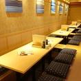 2名様~最大32名様までの掘りごたつ席☆4名様用の掘りごたつ席が8席並んでおります。