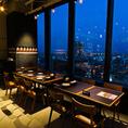 大人気窓側【夜景付き】大切な方とのデートや記念日には、名古屋の夜景が見えるお席でどうぞ。。夜景を眺めながら落ち着いた雰囲気の店内で当店自慢の様々なプレミアム生ビールをお楽しみください。