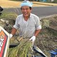 お米生産者の桐さん。情熱のハツシモ米を使っております!海座専用の大型玄米保冷庫を完備し、一年中新米のおいしさを保ちます。