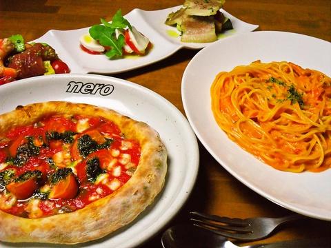 食材にこだわったパスタやピザなどをリーズナブルに提供。子供から大人まで楽しめる。