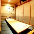 和の雰囲気漂う掘り炬燵個室。会社のご宴会ではコチラの席もオススメです!