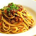 料理メニュー写真飲み屋さんのミートソース スパゲッティ