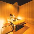 落ち着いた色調で統一された和個室。お洒落な造りで女性にも人気です。