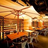 【テーブル席】店内にはなんとパラソルが!!テラス席のようなリゾート感漂うおしゃれな雰囲気♪