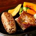 料理メニュー写真国産牛ハンバーグ&常陸牛カットステーキ