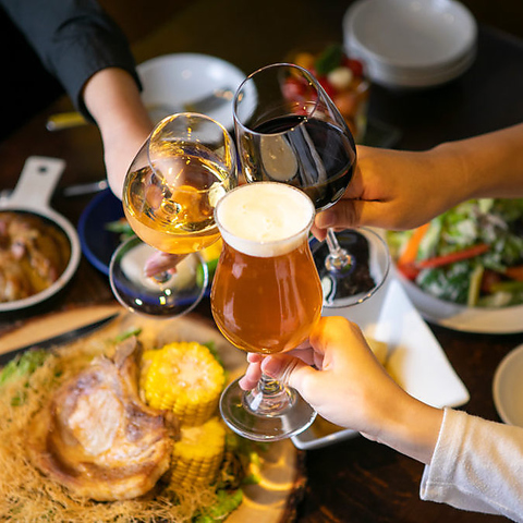 2H飲み放題+クラフトビール4種飲み比べ付☆〈全7品〉【4000円(税込)コース】