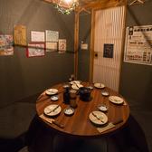 円卓での隠れ家風個室で宴会