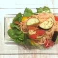 料理メニュー写真馬肉と夏野菜の冷製トマトパスタ