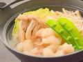 料理メニュー写真国産牛モツと水菜の塩ちゃんこ鍋