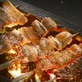 料理メニュー写真炭火焼き鳥各種(皮串/砂肝/はつ串/レバー串)