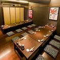 掘りごたつ個室15名様迄。「和」の雰囲気を大事にしたお部屋で幅広い年代層に支持を受けており、皆様がお寛ぎいただける空間となっております。