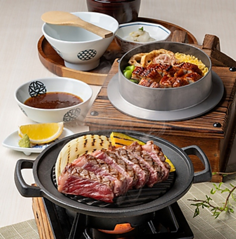 サーロインステーキと鰻の釜めしセット 2,409円(税込)