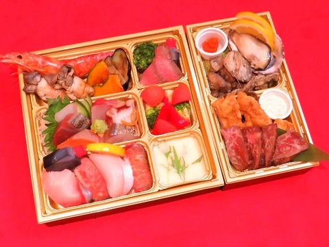ご宴会パーティメニューをテイクアウト♪日向灘7点盛と宮崎赤鶏、宮崎牛ステーキコース4,000円