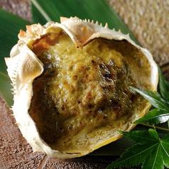 料理メニュー写真蟹とえのき茸の蟹味噌甲羅焼き