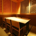 落ち着いた空間の個室は、周りを気にせずにお食事をお楽しみいただけます。接待等にもオススメな空間です。