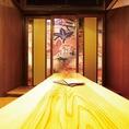 3階のお部屋は和柄に彩られた個室感のあるプライベート個室。居心地も抜群です。テーブルを連結すれば、42名様までご利用可能です。座敷も合わせれば54名様まで対応できます。
