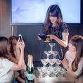 シャンパンタワーご用意ございます!お祝い事の盛り上がりにぴったり!特k別なサービスです。ご予約時にお申し付けください!