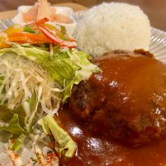 ハンバーグプレート(ライス・サラダ付き/単品)