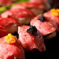 『キャビアのせ肉寿司』をはじめとした和と洋が調合した彩豊かな料理をお楽しみ頂けます◎ 期間限定で無制限飲み放題も開催中!