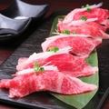 料理メニュー写真和牛炙り肉寿司 サーロイン一貫