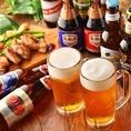 ビール好きには堪らない品揃え♪となっております♪世界各国の各種ビールは自慢のお肉料理や、海鮮・野菜料理との相性も抜群です♪アジア各国の人気のビールを心行くまでご堪能ください!