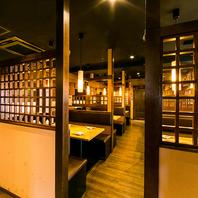 新宿東口店では個室席を多数ご用意。