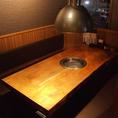 ゆったりとしたテーブルは8名までOK !