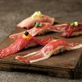 料理メニュー写真牛馬の極上肉寿司 5種 盛り合わせ