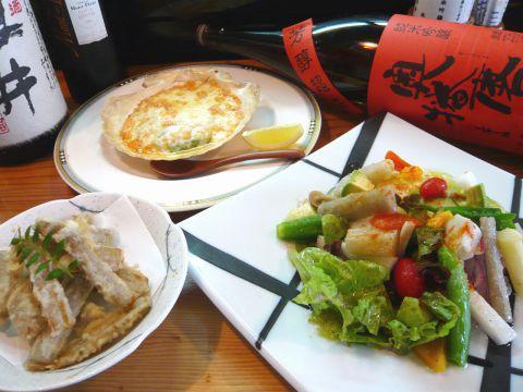 ちょっと贅沢したい時、美味しい物を食べたい時はここ。旬の魚介や野菜の和創作を堪能