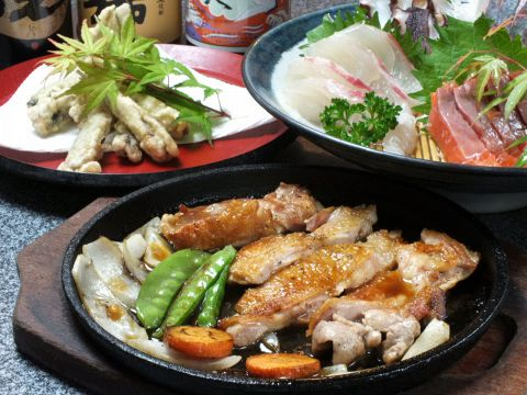 鮮魚のお刺身3点盛り付、飲み放題込3000円(税抜) 120分コース※要予約