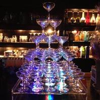 シャンパンタワーでお祝い