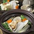 料理メニュー写真有機野菜とはまぐり しゃぶしゃぶ