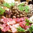 季節の旬野菜や上質な肉もご堪能あれ…。素材にこだわった料理の数々。