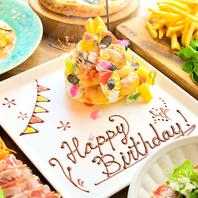 誕生日:記念日などお祝いの時にはメッセージプレート♪