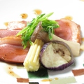 料理メニュー写真【焼物】合鴨のステーキ キノコと秋茄子添え~ワインソース~