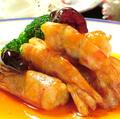 料理メニュー写真海老と季節野菜の広東式炒め/海老のチリソース煮/海老の天ぷら/海老のマヨネーズソース炒め