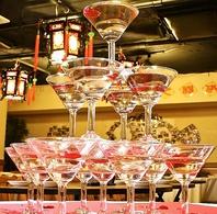 【宴会や打ち上げに人気のシャンパンタワーサービス】