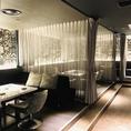 ふかふかソファのカーテン個室。コンパや飲み会に。